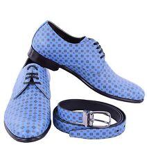 DOLCE & GABBANA Geschenkset aus NAPOLI Derby Schuhe & Gürtel Blau 04884