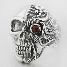 Handmade Red CZ Eye Skull 925 Sterling Silver Mens Biker Punk Gothic Ring 8S006B