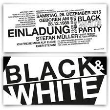 Einladungen zum Geburtstag Schwarz Weiß - Black & White Party Einladungskarten
