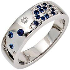 Ring Damenring, Safire & Diamant Brillanten, 585 Weißgold Gold, Damen, Goldring