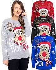 Unisexe tricoté ho! ho! ho! noël noël pull renne rudolph top sweater
