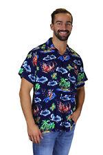 Camisa de Navidad, Camisa de Hawai, Christmas Island, Multi Azul, XS - 6XL