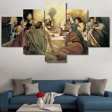 Framed Jesus Disciples Last Supper Canvas Prints Painting Art Home Decor 5PCS