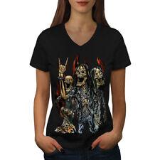 Skeleton Rock Band Women V-Neck T-shirt NEW | Wellcoda