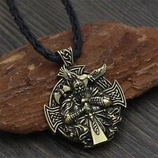 Norse Vikings Odin's Ravens Cross Pendant Necklace Men Women Jewelry Charm