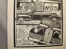 1950 ZIS Russian USSR Auto Pen Ink Hand Drawn  Poster Automotive Museum