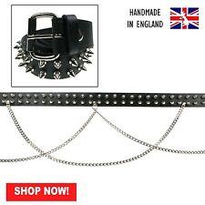 38mm black spike roller boucle double chaîne en cuir véritable ceinture made in england