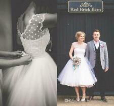 Vintage White/Ivory Lace Tea Length Short Wedding Dress Bridal Dress Plus Size
