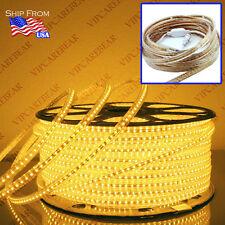 3ft-164ft 110V 3014 DARK YELLOW SMD 120 LED/M StripLight IP68Waterproof +AC Plug