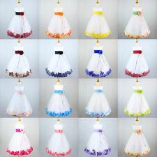 WHITE Flower Girl Dress Wedding Recital Birthday Formal Bridesmaid Pageant Petal