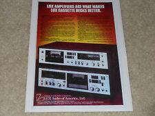 Luxman Cassette Deck Ad, 1977, K-15, K-8, Specs, Article, Info, Beautiful!