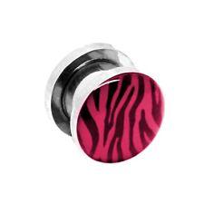 1 Tunnel / Set Plug Edelstahl Acryl Flesh zum Schrauben Dehnungsset Zebra rosa