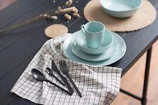 NEW Porcelain Dining Meal Set Plate Bowl Mug Set of 4 Blue Green Grey w/ Package