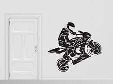 Wall Vinyl Sticker Motorcycle Racer Helmet Jump Motorbike Gloves (n244)
