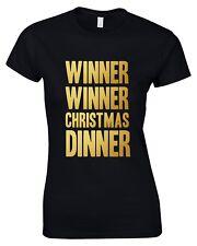 Winner Winner cena de Navidad Mujer T-Shirt 8-16 Divertido Navidad Novedad Impreso