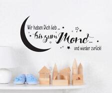 Wir haben Dich lieb - Mond Kinderzimmer Baby Wandspruch Wandaufkleber WandTattoo