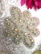 """JB65 Crystal AB Floral Glass Silver Beaded Rhinestone Applique 3"""""""