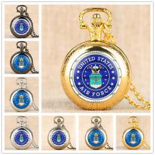 USA AIR FORCE Quartz Pocket Watch Silver Bronze Black Golden Necklace Chain Gift