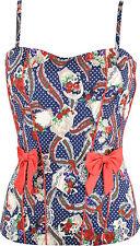 Küstenluder JOHANNA 50s Bow Pin Up Roses TOP Shirt - Blau Rockabilly