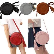 Women Tassel Round Cross Body Bag Tote Messenger Roll Shoulder Bag Purse Handbag