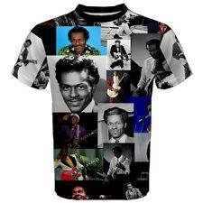Chuck Berry Faces Rock Legend Paparazzi Men's Sports Mesh T-SHIRT TEES CB1