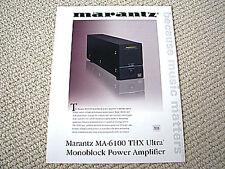 Marantz MA-6100 THX Ultra power amplifier brochure