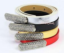 Ladies Womens Girls Faux Leather Skinny Low Waist Thin Diamante Buckle Belt