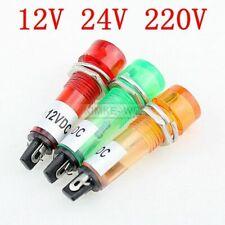 10mm LED Pilot Panel Indicator Signal Warning Light Lamp AC/DC Red Green Yellow