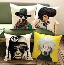 Creative Funky Hip Retro Cat Dog Cotton Linen Pillow Case Cushion Cover 43 x 43