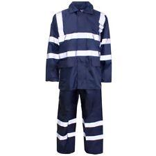 Supertouch Navy Hi Vis Polyester PVC Rain Suit Jacket Trousers Set Lightweight
