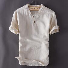 Homme Pull-over Coton Lin Manche Courte T-Shirt Chemise Tendance elegant FR