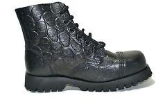 Steel Ground Combat Boots Black Leather 6 Eye Embossed Skulls Safety Cap Unisex