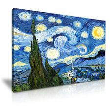 Van GOGH NOTTE STELLATA STAMPA SU TELA Incorniciato Wall Art ~ più dimensioni