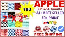 "100CT 2020 APPLE SMALL BAGGIES 2"" X 2"" MINI ZIPLOCK BAGS (ALL BEST SELLER PRINT)"