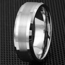 6/8mm Tungsten Men's Half Brushed Stripe Beveled Wedding Band Ring Size 5-15 TW