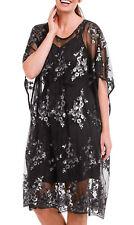 UK Sizes 8 - 24 Ladies Fabulous Black Sequin Heavily Embellished 2 Piece Dress