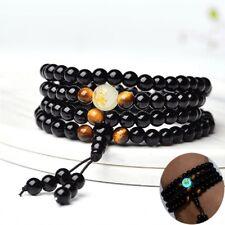Luminous Dragon Mala Bracelet Yoga Black Onyx Men Women 6mm 8mm 108 Buddha Beads