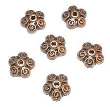 M313f Antiqued Copper 10mm Round 5-Petal Filigree Flower Bead Caps 10pkg