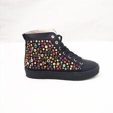 Scarpe Donna Sneakers Fashion Strass Multi color Lacci Tacco Basso JH17-278