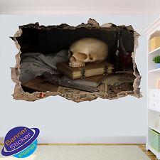 Gothique crâne vintage pistolet 3D smashed autocollant mural chambre décoration autocollant murale YC9