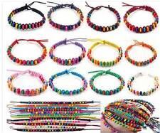 Les filles perles en bois bracelet tressé toute plaque multicolore-job lot / Enfants Fête Sac Cadeau