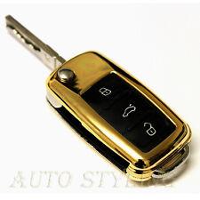 Gold Remote Flip Key Cover VW SEAT SKODA Case Protector Fob TDI TSI GTI r32 27