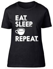 Eat Sleep Coffee Repeat Womens Ladies Short Sleeve Tee T-Shirt