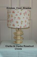 Handmade Lampshade Clarke and Clarke Rosebud Chintz Fabric Flowers Pink Vintage