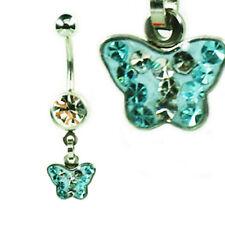 EPOXY Crystal Bauchnabel Piercing Schmetterling viele Kristalle beschichtet