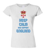 Ladies T-Shirt KEEP CALM & Support ENGLAND Football Womens