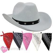 BIANCO Cappello da cowboy e Paisley Bandana Wild West Costume Accessorio Set