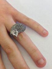 A16 Hedgehog English Pewter Ladies Ring, Adjustable Handmade in Sheffield