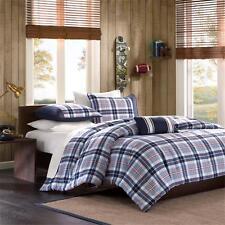 Classic Cozy Modern Blue White Red Navy Sporty Boy Plaid Comforter Set & Pillow