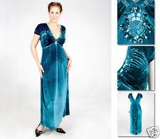 NEW Zaftique VELVET SHIRRED Dress Gown BLUE Plus Size 0Z 1Z 14 16 20 L XL 1X 2X